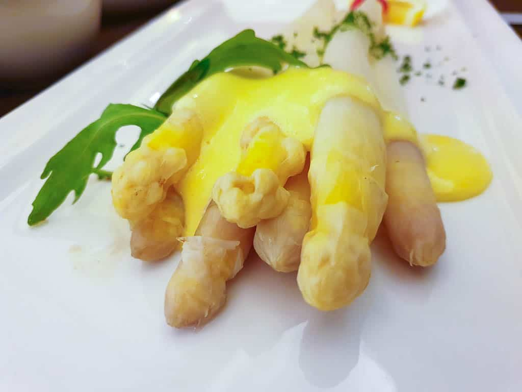 Eating White Asparagus in Luxembourg
