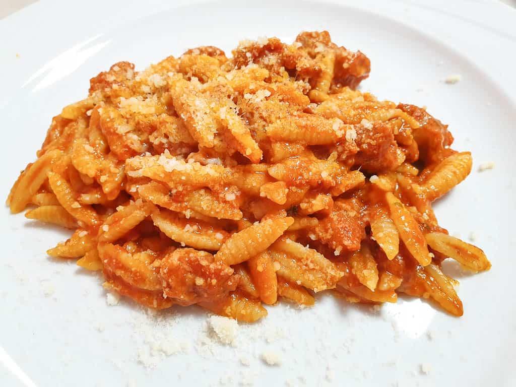 traditional Italian food in Sardinia - Malloreddus