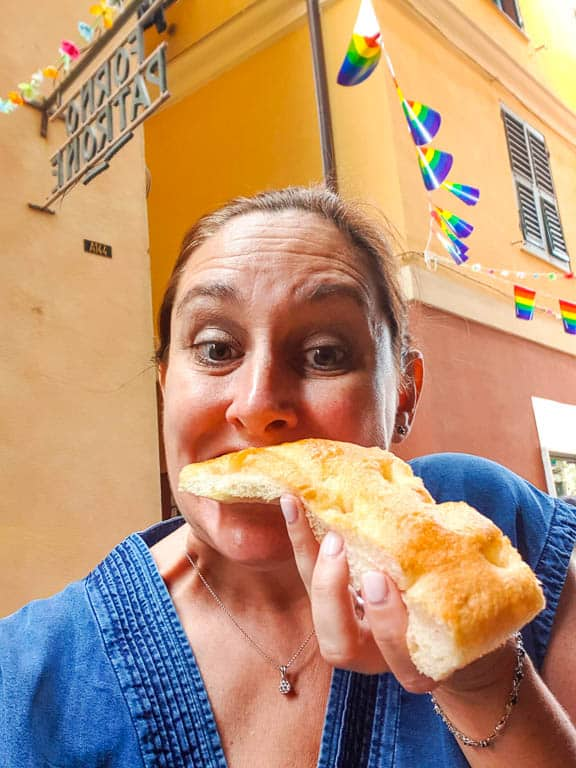 eating focaccia in Genoa