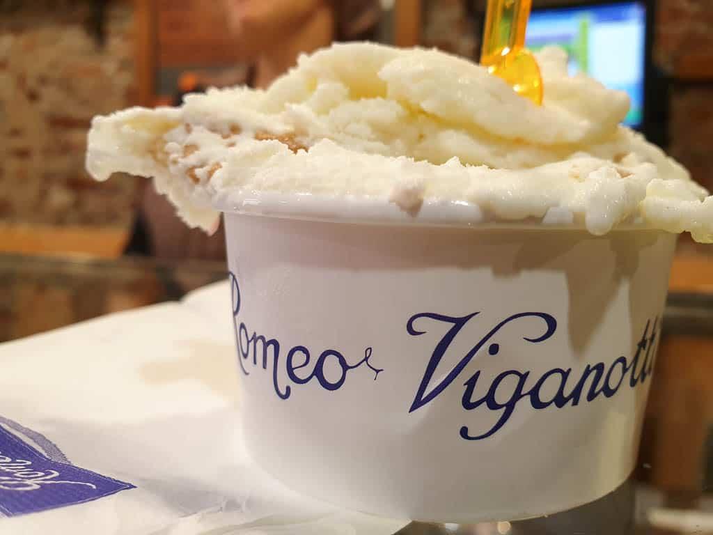Eating gelato in Genoa Italy