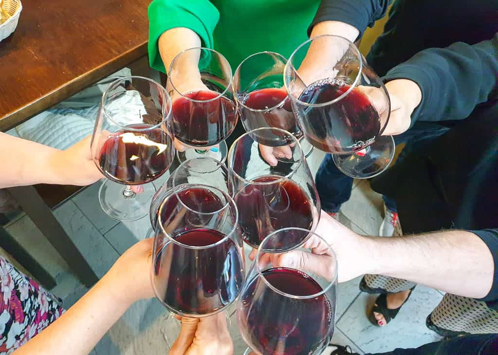 Drinking Rioja wine in Logrono Spain