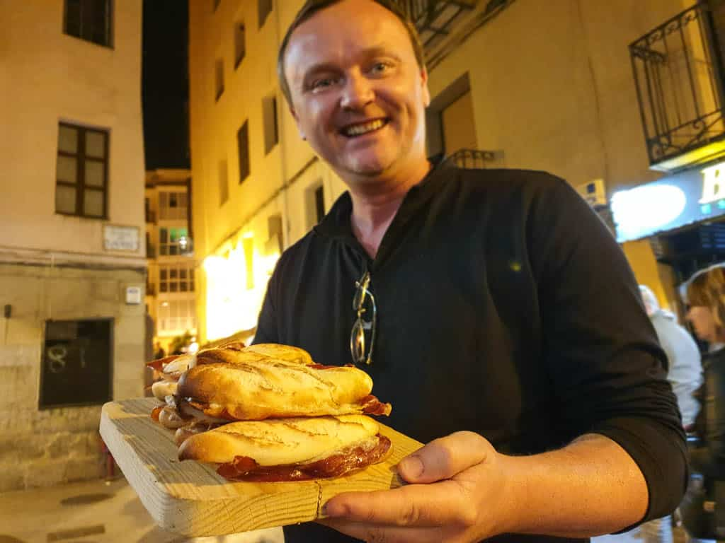 eating pinchos in Logrono