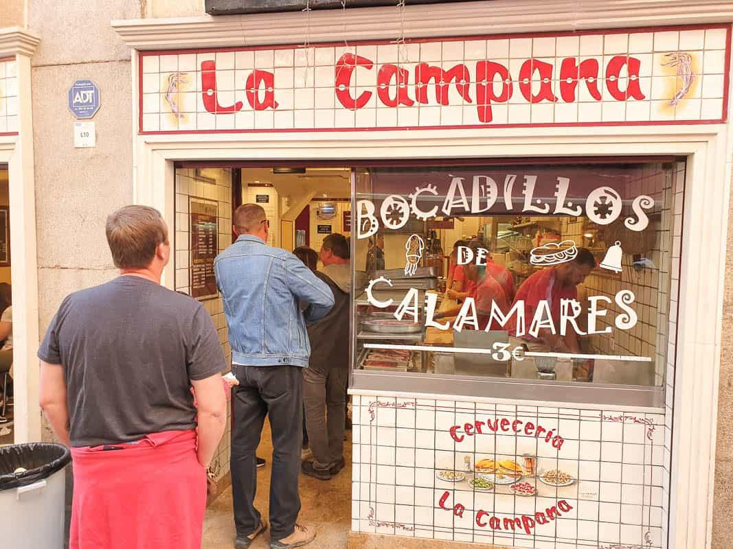 La Campana Madrid Bocadillo de Calamares