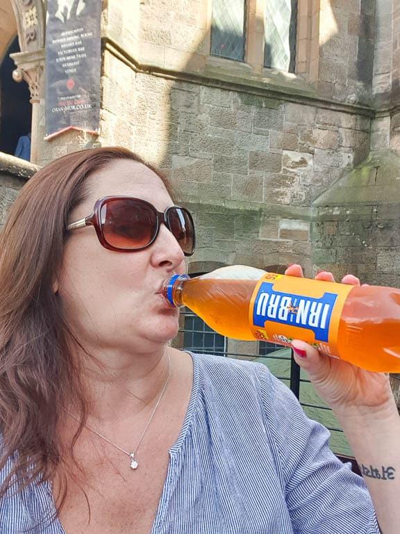 drinking irn bru in Scotland