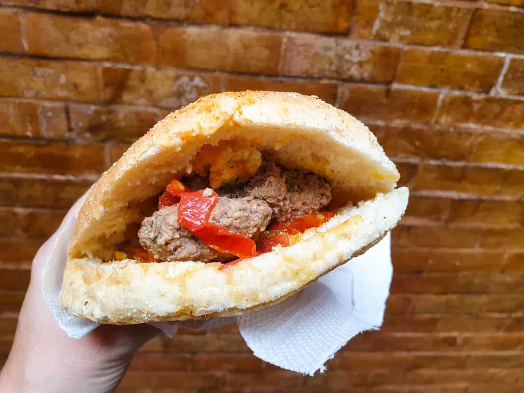 Eating Camel Burger In Morocco