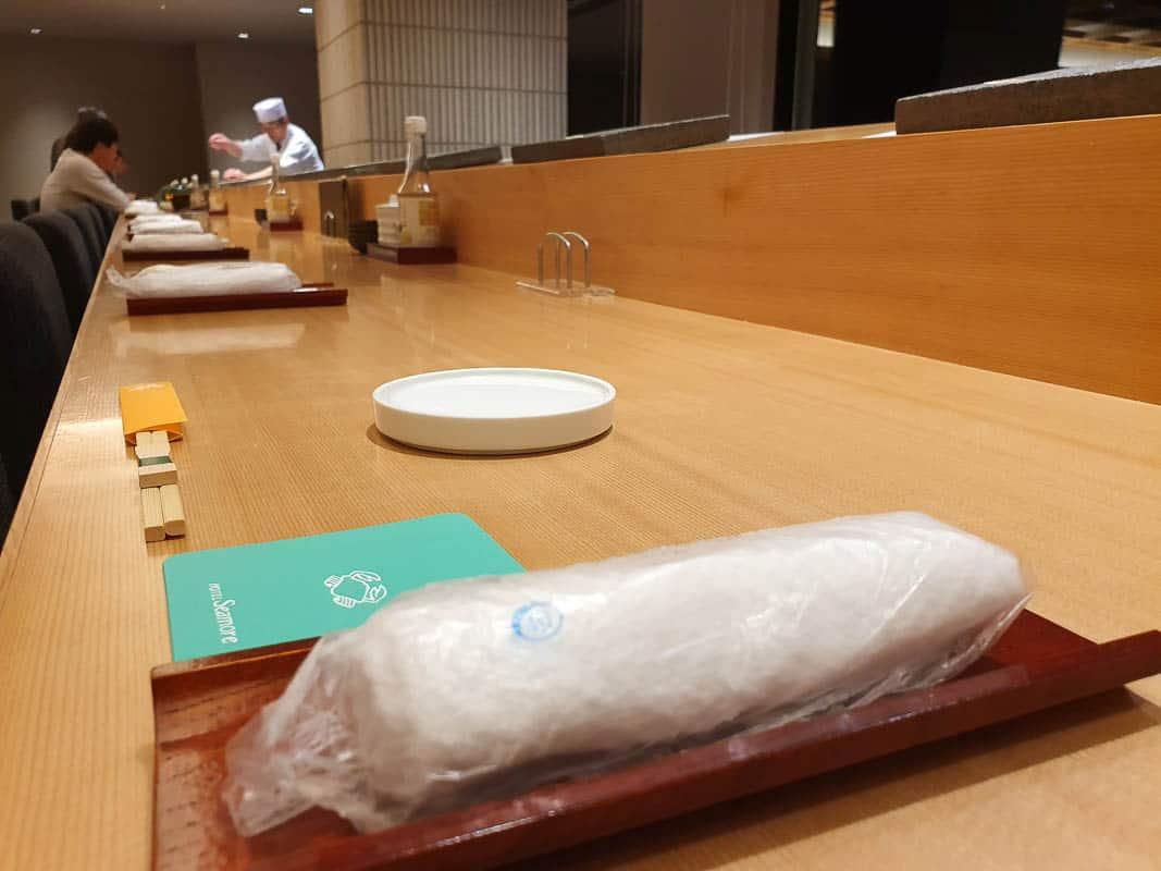 Eating At The Sushi Bar In Japan