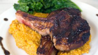 Coffee-Rubbed Lamb Chops with Pumpkin Cinnamon Polenta