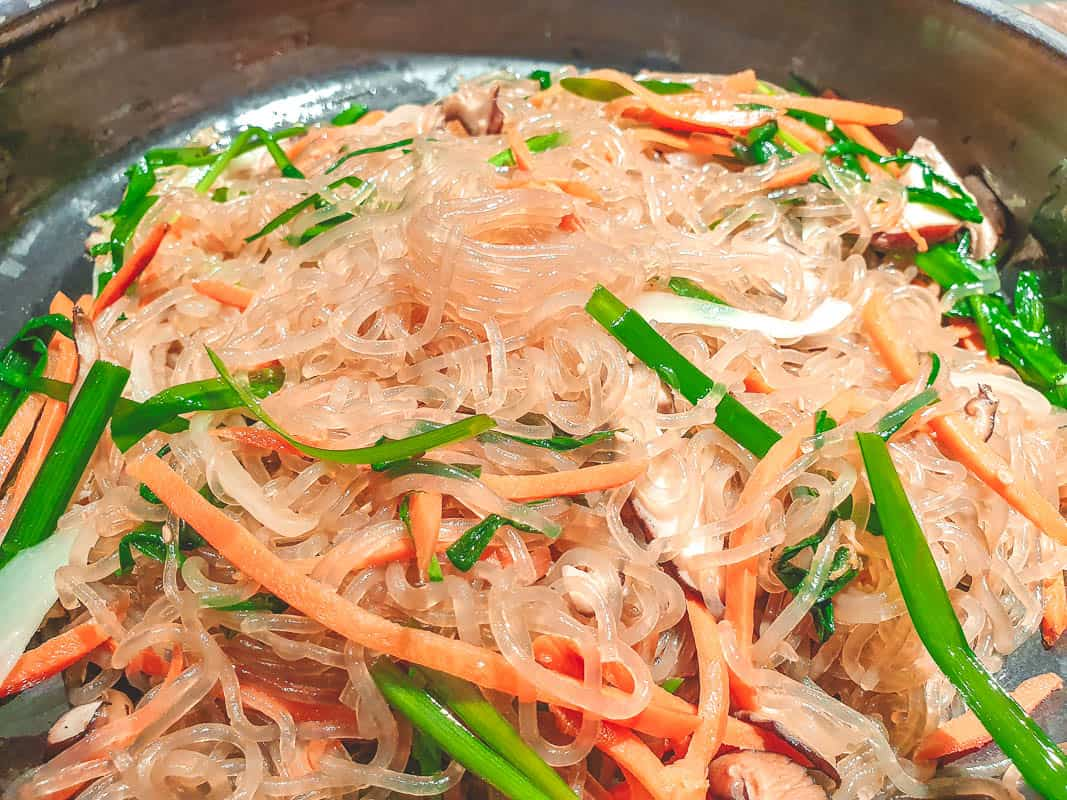 Eating Japchae in Kore