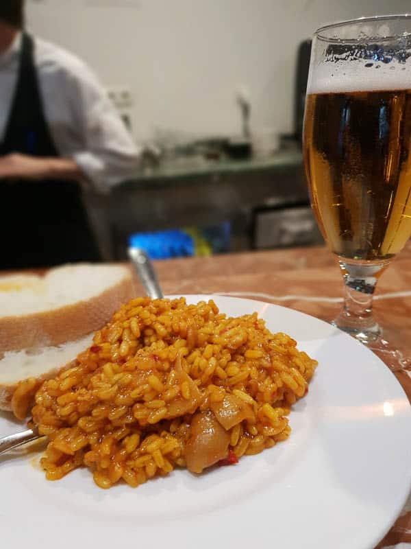 Eating Arroz in Granada