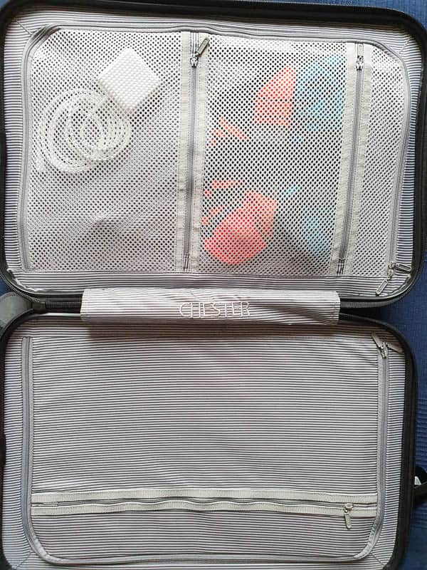 compartments inside spinner luggage