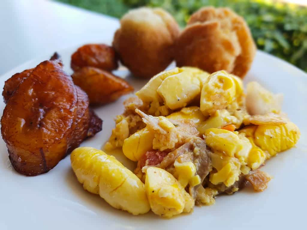 Eating ackee and saltfish in Jamaica
