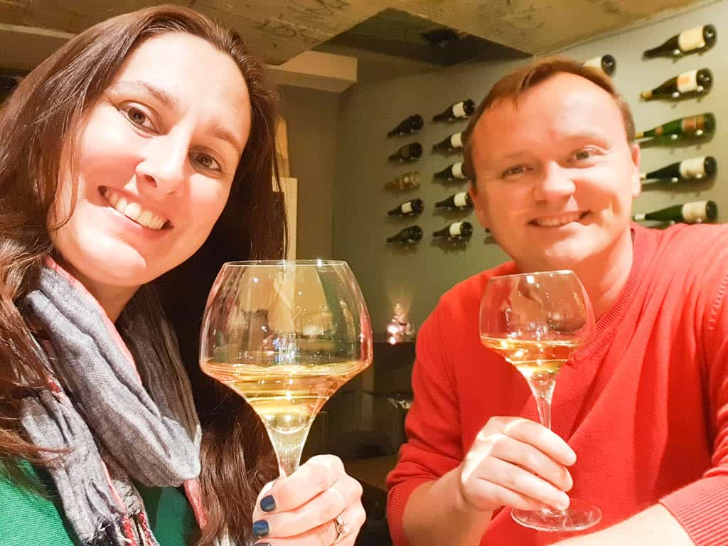 Drinking cremant wine in Luxembourg