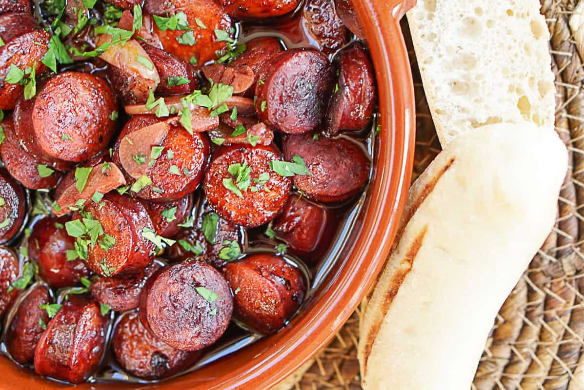 Chorizo Al Vino Tinto Recipe- Spanish Chorizo In Red Wine