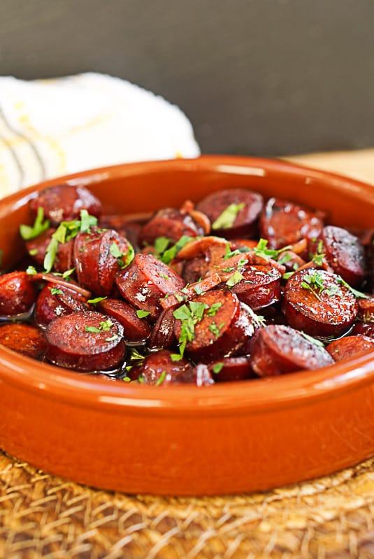 Chorizo Al Vino Tinto Recipe- Spanish Chorizo In Red Wine