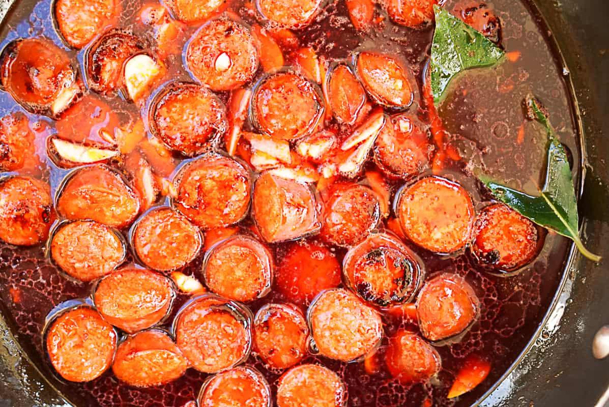 Chorizo red wine tapas