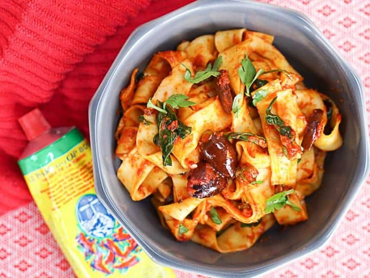 Spicy Harissa Pasta Recipe With Black Olives & Capers