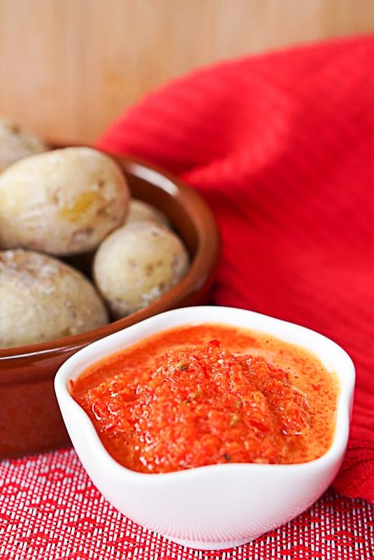 Mojo Picon Canario with potatoes