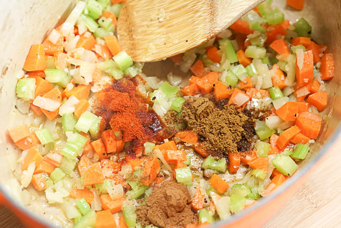 cooking the vegetables for pig cheek