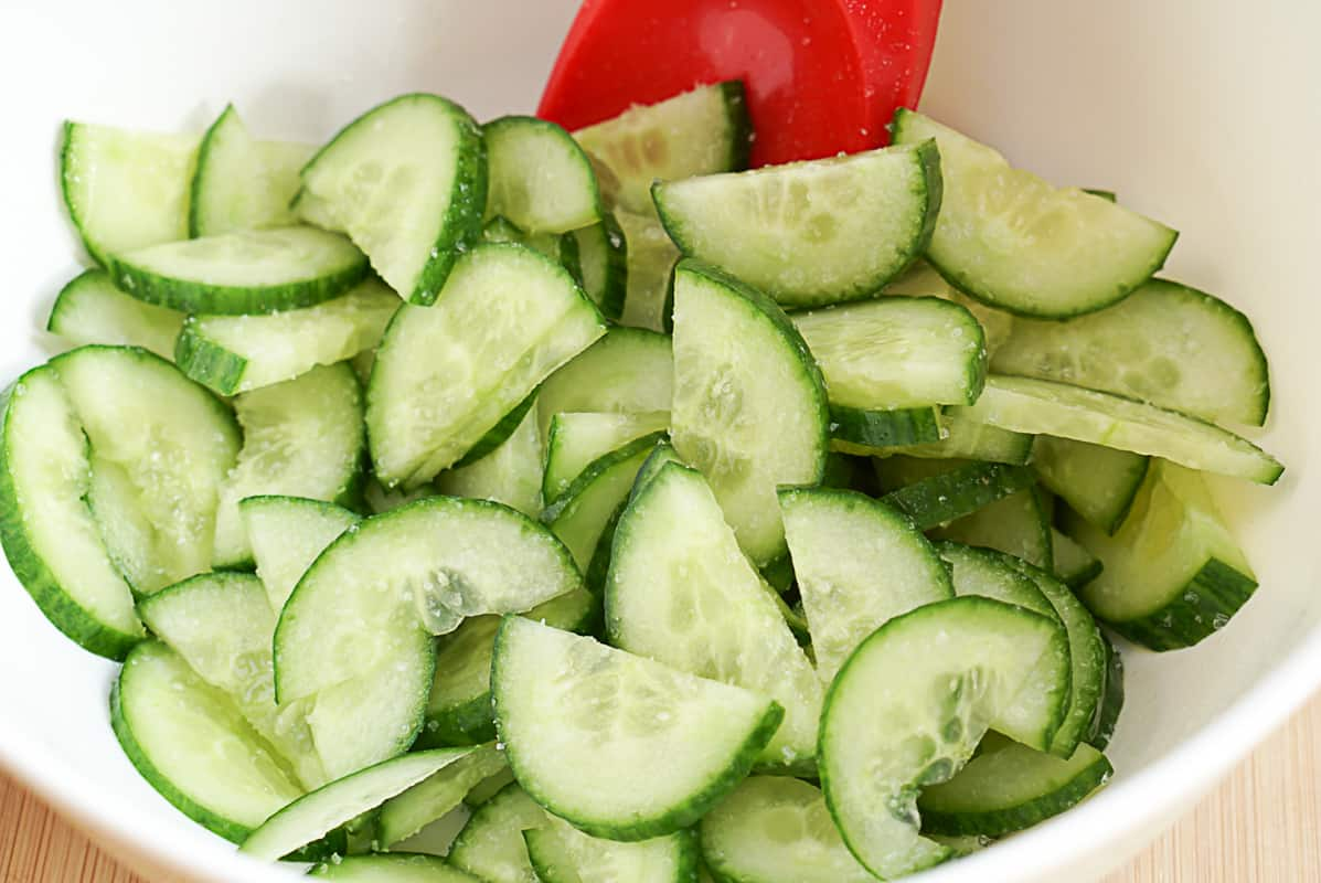 salting cucumbers for a salad