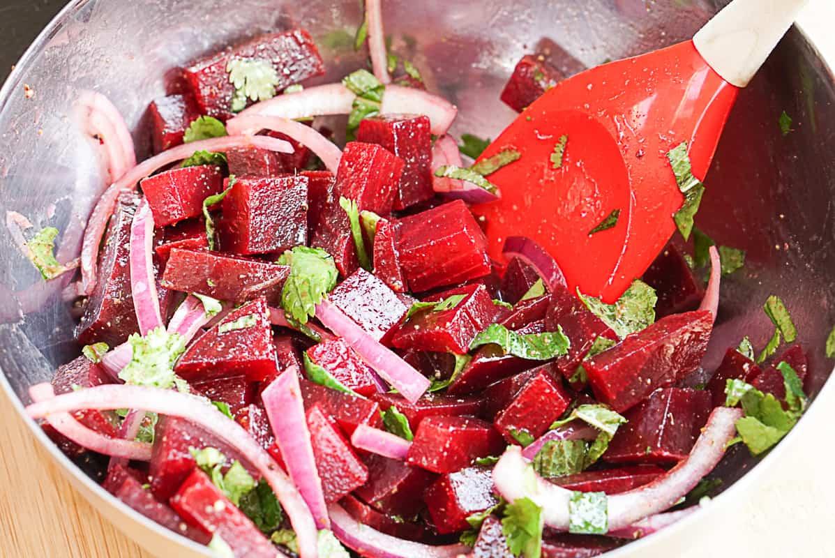 Preparing a Moroccan beetroot salad